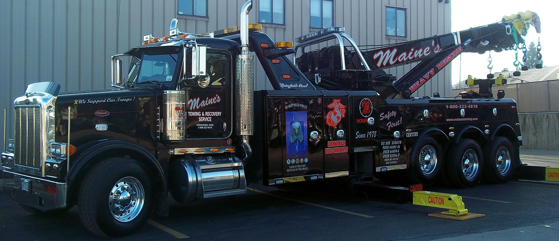 True 24 Hour, 7 days a week towing service; light, medium, heavy duty.
